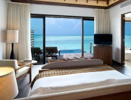 Anantara Veli Maldives Deluxe Over Water Pool Bungalow Bedroom