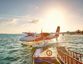 Seaplane Arrival at Lux South Ari Atoll Maldives