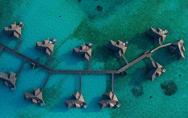 Water Villas / Overwater Bungalows Aerial View of Conrad Maldives